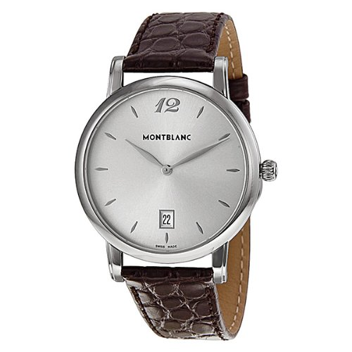 Montblanc Star Classique Date Stainless Steel Brown Leather Mens Watch 108770
