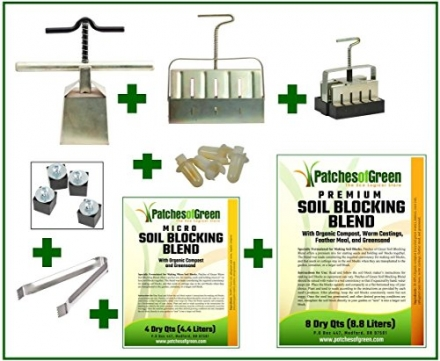 "NEW! ""Master Grower"" 8-Piece Premium Soil Blocker Set with Micro and Premium Soil Blocking Blends"