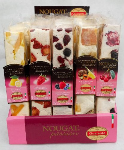 Quaranta (25 pack) Assorted Fruit & Nut Torrone Bars 5 x 5 x100g Soft Torrone Nougat from Italy