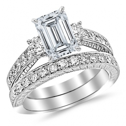 2.28 Carat Classic Channel Set Wedding Set Bridal Band & Diamond Engagement Ring with a 1.25 Carat E