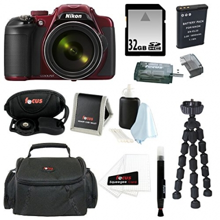 Nikon COOLPIX P600 Digital Camera (Red) + 32GB Memory Card + Vivitar Coco Series Small Gadget Camera