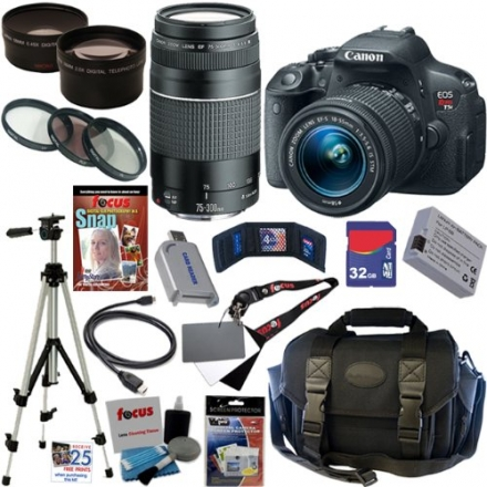 Canon EOS Rebel T5i 18.0 MP CMOS Digital Camera with EF-S 18-55mm f/3.5-5.6 IS STM Zoom Lens + EF 75