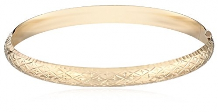 Duragold 14k Yellow Gold Diamond-Cut Bangle Bracelet, 8″
