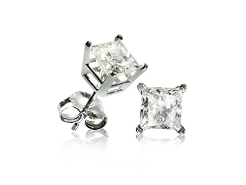 14K White Gold Princess Cut Diamond Stud Earrings (1.0cttw)