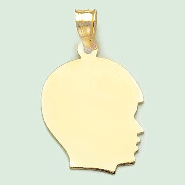14k Gold Necklace Charm Pendant, Boy Silhouette, High Polish