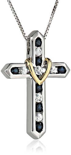 "XPY Sterling Silver and 14k Yellow Gold Blue and White Sapphire ""Cross Your Heart"" Pendant Necklace,"