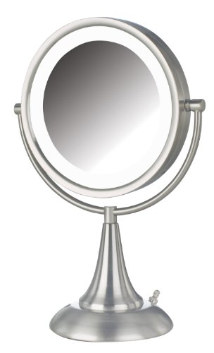 Jerdon HL8510NL 8.5-Inch LED Lighted Vanity Mirror with 8x Magnification, Nickel Finish