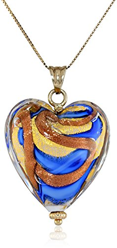 14k Yellow Gold Murano Glass Heart Necklace