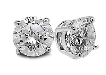 1/2 Ctw Diamond Studs GH/SI1-SI2 14K White Gold