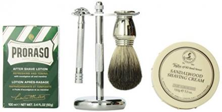 Luxury Shaving Gift Set with Merkur Safety Razor, Stand, Badger Brush, Taylor Sandalwood Shaving Cre