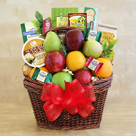 Deluxe Fruit Gift Basket | Includes Meat, Cheese, Nuts, Cookies and Chocolate