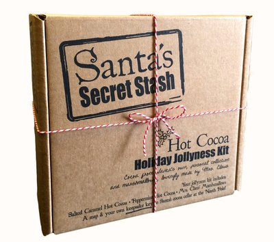 Santa's Secret Stash Hot Cocoa Gift Set, Salted Caramel and Peppermint with Mrs. Claus Marshmallows