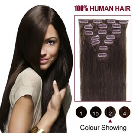 HairExtensionSale® Straight Remy Human Hair Extensions 24″ Dark Brown(#2) 7pcs Clip On hair pieces