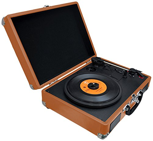 Pyle PVTTBT6BR Bluetooth Classic Vintage Style Vinyl Record Player Turntable, Vinyl-To-MP3 Record, R