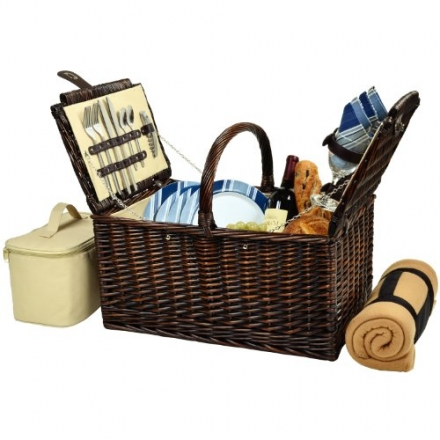 Picnic at Ascot Buckingham Basket for 4 with Blanket, Brown Wicker/Blue Stripe
