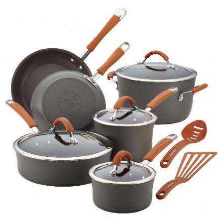 Rachael Ray Cucina Hard-Anodized Nonstick 12-Piece Cookware Set, Gray with Pumpkin Orange Handles