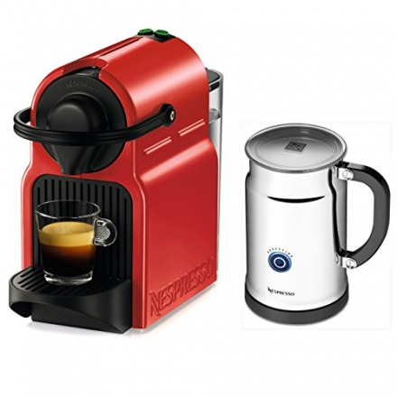 Nespresso Inissia Espresso Maker with Aeroccino Plus Milk Frother, Red