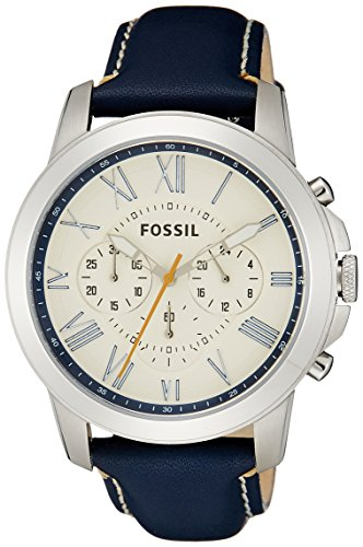 Fossil Men's FS4925 Grant Chronograph Leather Watch – Dark Blue
