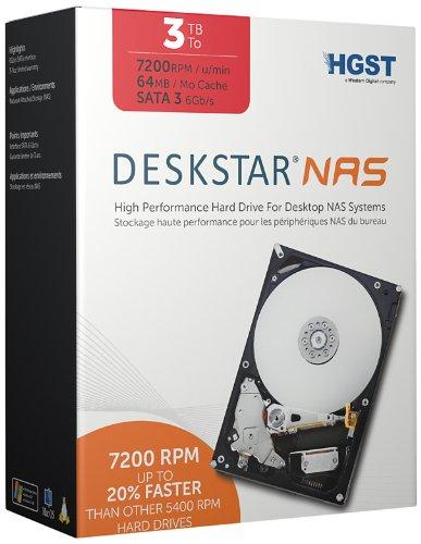 HGST Deskstar NAS 3.5-Inch 3TB 7200RPM SATA III 64MB Cache Internal Hard Drive Kit (0S03660)