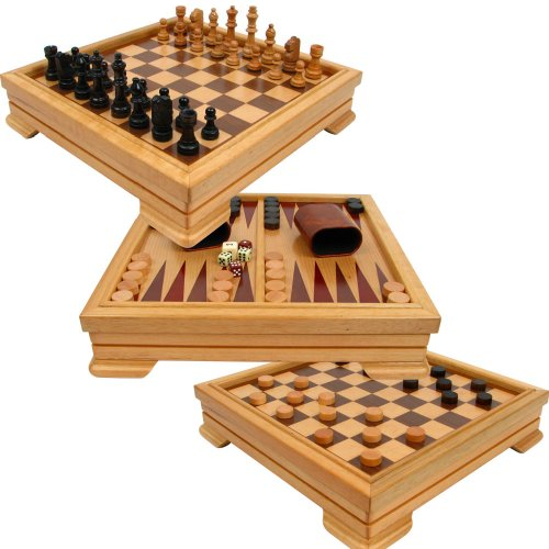 Deluxe 7-in-1 Game Set – Chess – Backgammon etc Brown