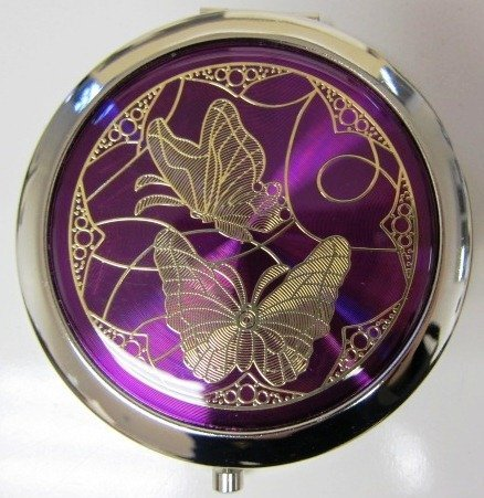 Purse Handbag Double Compact Cosmetic Mirror – Two Butterflies – Dark Purple