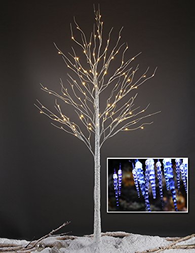 Lightshare™ NEW 8FT 132L LED Birch Tree,+Free Gift:10L LED Icicle Twinkling(white/Blue)Decoration