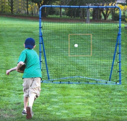 EZGoal Folding Pitching Throwback Nets, 6 x 6-Feet, Blue