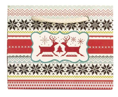 Jillson Roberts Bulk Recycled Christmas Tiny Tote Gift Bags, Sweater Print, 120-Count (BXTT580)