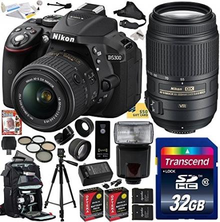 Nikon D5300 24.2 MP CMOS Digital SLR Camera with 18-55mm f/3.5-5.6G ED VR II AF-S DX NIKKOR Zoom Len