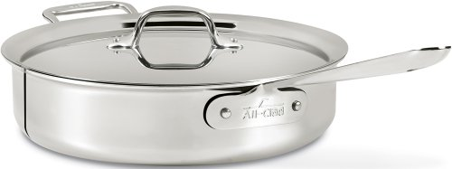All-Clad 4406 Stainless Steel 3-Ply Bonded Dishwasher Safe 6-Quart Saute Pan with Lid Cookware, Silv