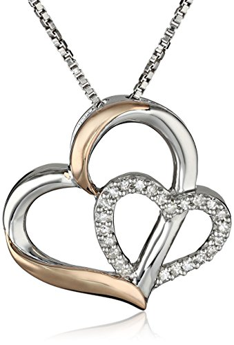 XPY Sterling Silver and 14k Rose Gold Diamond Double-Heart Pendant Necklace, 18″ (0.09 cttw, I-J col