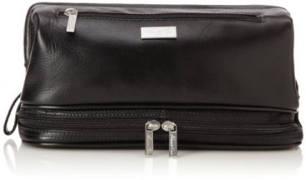 Kenneth Cole Men's Top Zip Travel Kit with Around Bottom Compartment, Black, One Size