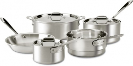 All-Clad 7100-7 Master Chef 2 Stainless Steel Tri-Ply Bonded 8-Piece Cookware Set, Silver