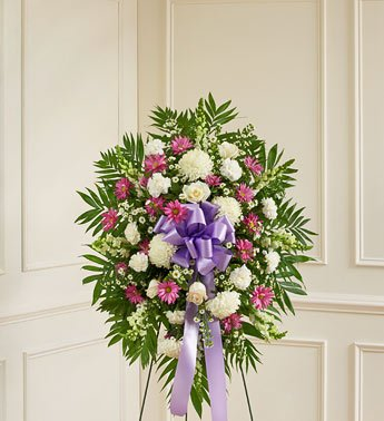 1800Flowers – Deepest Sympathies Lavender & White Standing Spray – Small