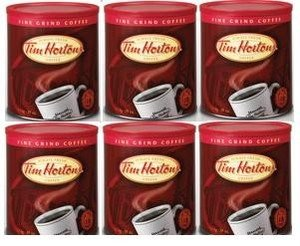 6 Pack Tim Hortons Freshly Sealed Fine Grind Cans Coffee 32oz (930g) Each