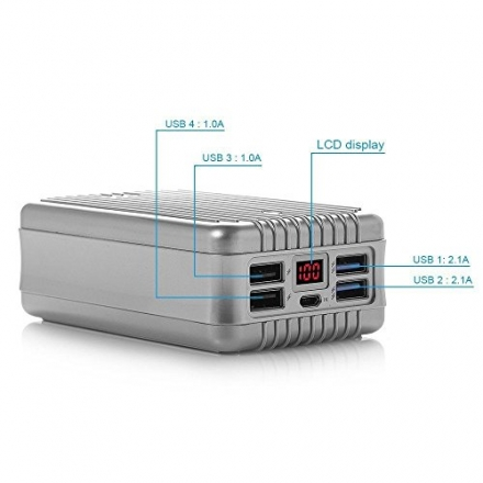 New Shop Poweradd TravelMate 24000mAh 4-Port Portable External Battery Charger Power