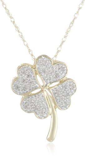 XPY 10k Yellow Gold Diamond Four Leaf Clover Pendant Necklace, 18″