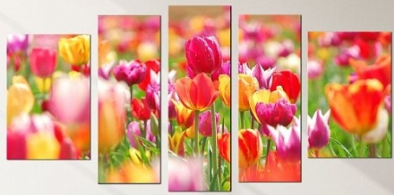 Orange Clock with Red Tulips Canvas Wall Art Set of 5 Total 35.43 X 70.87 in Startonight Flowers