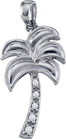 0.04CTW DIAMOND TREE FASHION PENDANT CHARM 10K White-gold