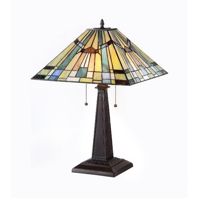 "Chloe Lighting CH33293MS16-TL2 ""KINSEY"" Tiffany-Style Mission 2 Light Table Lamp 16-Inch Shade"
