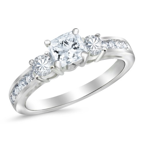 1.1 Carat 3 Stone Channel Set Princess Cut Diamond Engagement Ring with a 0.5 Carat GIA Certified Pr