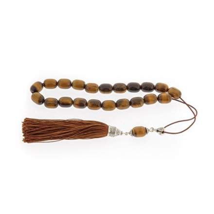 Tiger Eye Gemstone Handmade Worry Beads (Komboloi) Sterling Silver 925, Style B – Free Shipping Worl