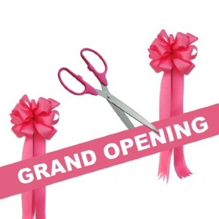 Grand Opening Kit – 25″ Pink/Silver Ceremonial Ribbon Cutting Scissors with 5 Yards of 6″ Pink Grand