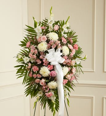 1-800-Flowers – Deepest Sympathies Standing Spray-Pink & White – Small By…