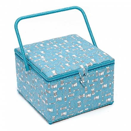 Hobby Gift Bobbin & Scissor Design Square Sewing Basket White on Blue Extra Large (30.5 x 30.5 x 22c