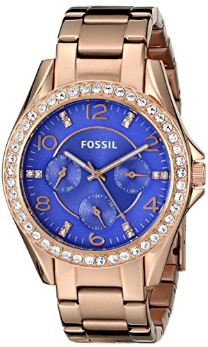 Fossil Women's ES3656 Riley Multifunction Stainless Steel Watch – Rose Gold-Tone with Purple Dial