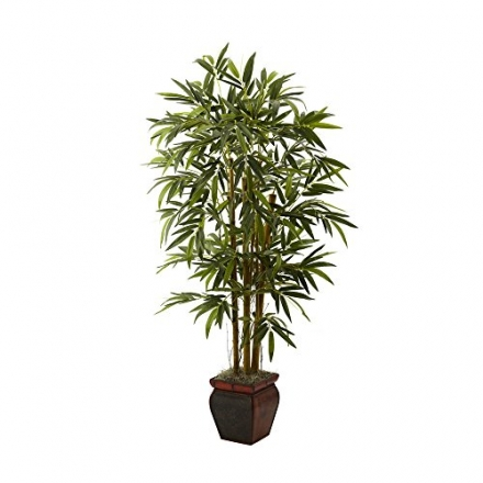 Nearly Natural Home Garden Décor 5.5′ Bamboo w/Decorative Planter