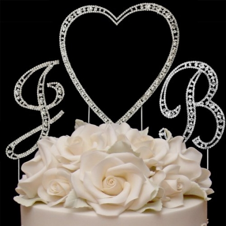 RaeBella Weddings Silver Vintage Style Swarovski Crystal Monogram Heart Wedding Cake Topper 3pc Lett