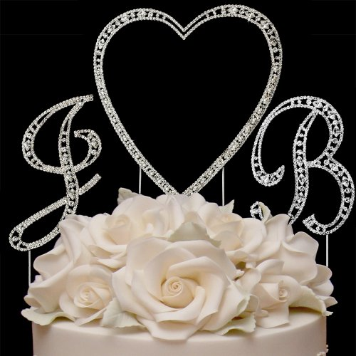 RaeBella Weddings Silver Vintage Style Swarovski Crystal Monogram Heart Wedding Cake Topper 3pc Lett
