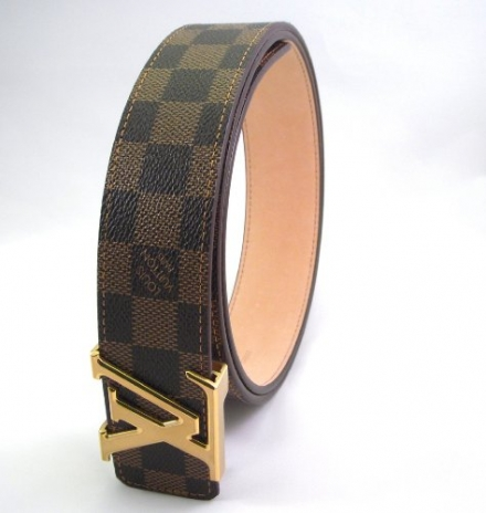 Damier – Ebene Belt – Gold Buckle Initials